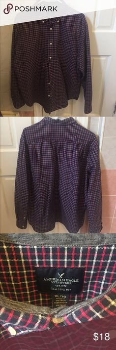 American Eagle Plaid Button Up Size XL Navy and red Plaid Button down in size XL. In like new condition American Eagle Outfitters Shirts Casual Button Down Shirts