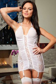Electric Lace and Mesh Chemise with Garter White
