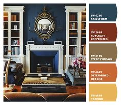 Love the sophisticated combination of navy blue with camel, brown, gold, and crisp white. Paint colors from Chip It! by Sherwin-Williams