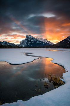 Fire - An amazing sunrise at Vermillion Lakes in Banff, Alberta, Erik McRitchie. Fire Photography, Amazing Photography, Landscape Photography, Beautiful Sunset, Beautiful Places, Winter Scenes, Landscape Photos, Belle Photo, Nature Photos
