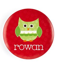 Take a look at this Patchwork Christmas Owl Personalized Plate by Lima Bean Kids on #zulily today!