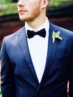Groom in a Classic Navy Suit with a Black Bow Tie | Perry Vaile Photography | http://heyweddinglady.com/fine-art-adventure-loving-redwood-elopement/