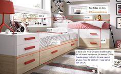 Camas modulares en esquina con cama nido, cajones y contenedores