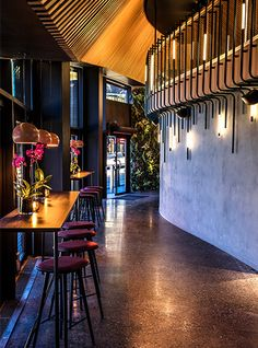 Nulty - Ling Ling, Oslo - Entrance Area Illuminated Feature Balustrade Timber Cladding Long Drop Pendants
