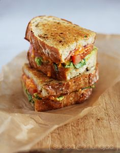 Grilled cheese sandwich with avocado and bacon