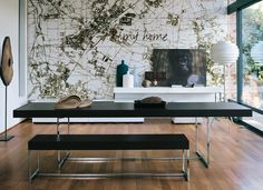Architecture, Inspiring Black Dining Bench Map: Stupendous Forest House with Wooden Material Black Dining Bench, Dining Table With Bench, Modern Dining Table, Dining Tables, Dining Room Paint Colors, Dining Room Design, Retro Dining Rooms, Beautiful Dining Rooms, Forest House