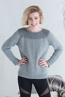 This pullover is worked in the round from the bottom up, beginning with a provisional cast-on. The sleeves and body are joined at the underarm to work the yoke. Featuring one-color and two-color brioche and an applied I-cord, this raglan pullover is an athleisure classic.