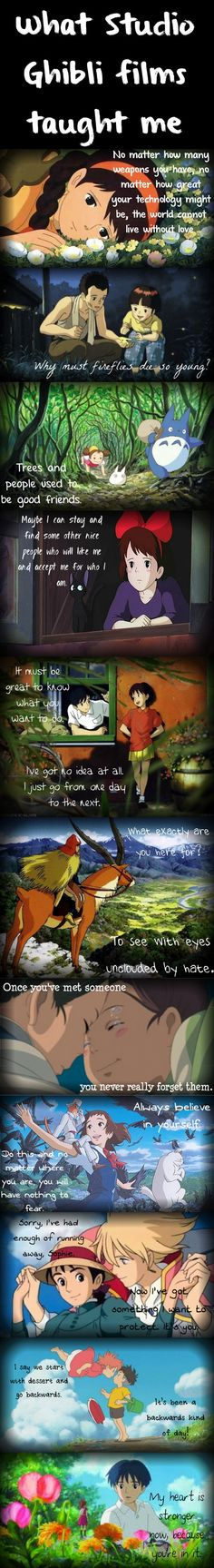 What Studio Ghibli films taught me  Laputa: Castle in the Sky, Grave of the Fireflies, My Neighbor Totoro, Kiki's Delivery Service, Whisper of the Heart, Princess Mononoke, Spirited Away, The Cat Returns, Howl's Moving Castle, Ponyo, The Borrowers (The Secret World of Arrietty)