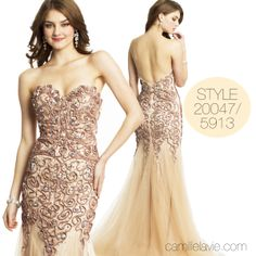Camille La Vie Ribbon Swirl Mermaid Strapless Prom Dress that's perfect for every other hot party