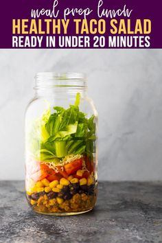 Taco Salad Recipes, Taco Salads, Lunch Meal Prep, Meal Prep Bowls, Best Lunch Recipes, Healthy Recipes, Amazing Recipes, Slow Cooker Freezer Meals, Turkey Tacos