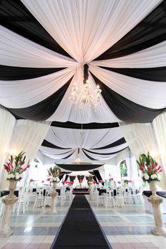 Combinación del blanco y el negro para las telas de boda