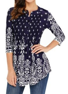 Floral Casual V-Neckline 3/4 Sleeves Blouses - Dark Blue / XXL