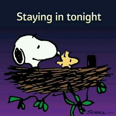 Staying in Tonight - Snoopy and Woodstock Sitting Together in Woodstock's Nest Charlie Brown Y Snoopy, Snoopy Love, Charlie Brown Christmas, Snoopy And Woodstock, Christmas Carol, Snoopy Images, Snoopy Pictures, Peanuts Cartoon, Peanuts Snoopy