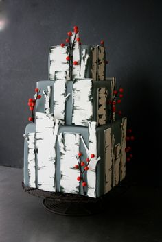 Birch tree forest wedding cake