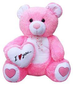 Beautiful pink love heart teddy bear 60 cm - teddy bear for girls Happy Teddy Bear Day, Cute Teddy Bear Pics, Teddy Bear Images, Teddy Bear Pictures, Pink Office Decor, Teddy Beer, Big Stuffed Animal, Disney Fine Art, Beautiful Love Pictures