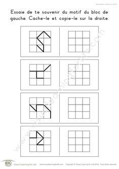Dans les fiches de travail « Mémorisation motifs blocs (3x3) » l'élève doit retenir le design du bloc sur la gauche pour pouvoir le recopier dans la case vide sur la droite lorsque le design n'est plus visible.