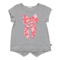 Glitter bow T-shirt Heather grey Billieblush