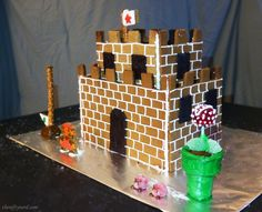 Super Mario Castle Gingerbread House Tutorial  | The Nifty Nerd