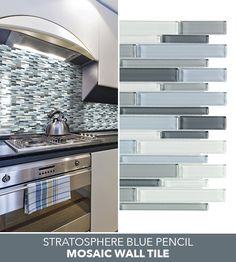 Provide a rich and exclusive look to any space in your home by selecting this Jeffrey Court Stratosphere Blue Pencil Interlocking Glass Mosaic Wall Tile. Lowes Backsplash Tile, Mosaic Wall Tiles, Kitchen Backsplash, Mosaic Glass, Kitchen Room Design, Kitchen Redo, Modern Kitchen Design, Blue Kitchen Cabinets, Blue Furniture