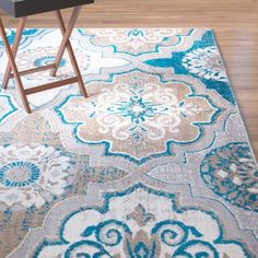 Found it at Wayfair - Albion Blue/Brown Area Rug