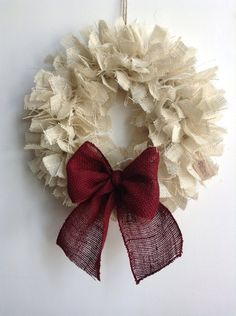 Burlap Christmas Wreath 17 White Wreath Holiday by JBJunkMarket
