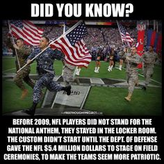 Commercial Militarism is Pricey: Uncle Sam Paying Millions to NFL to Promote Warfare State Read more at http://thefreethoughtproject.com/ill-pay-salute-me-government-takes-hard-line-nfl/#kxKiAM1H7gxwHsY5.99