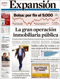 Los Titulares y Portadas de Noticias Destacadas Españolas del 19 de Septiembre de 2013 del Diario Expansión ¿Que le pareció esta Portada de este Diario Español?