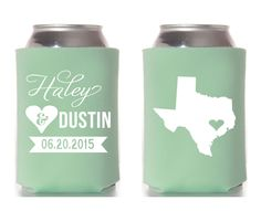 New to SipHipHooray on Etsy: Texas Wedding Koozie Wedding Koozie Custom Koozie Choose Your State Wedding Koozies Koozy (75.00 USD)