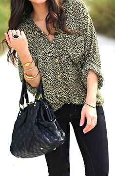 printed shirt, bangles, black quilted bag