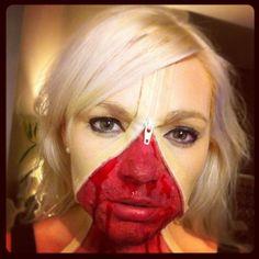 Halloween face paint  Zipper face paint    Make up Blood   Scary face paint