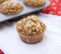 Vegan peanut butter oatmeal banana muffins - I substituted almond butter. Perfect after 20 min or 10 for mini muffins.