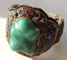 Huge Antique Chinese Enameled Jade Chrysoprase Silver Filigree Bracelet   eBay