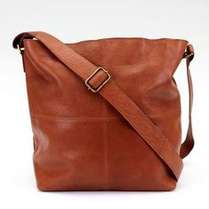 Tan Large Leather Messenger Bag