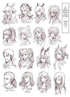 Inspiration: Hair & Expressions ----Manga Art Drawing Sketching Head Hairstyle---- by omocha-san on deviantART]]] design anime SRC - Batch Nikki's by ZenithOmocha on DeviantArt Sketch Head, Hair Sketch, Sketch Art, Hair Reference, Drawing Reference, Character Art, Character Design, Character Reference, Character Concept