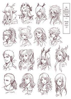 Inspiration: Hair & Expressions ----Manga Art Drawing Sketching Head Hairstyle---- [[[Batch3 by omocha-san on deviantART]]]