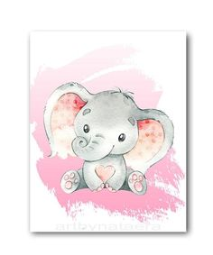 Pink Gray Elephant Print Elephant Wall Decor Canvas Print Stickers Decor Children Art Baby Girl Room Decor Baby Girl Nursery set of 4 Baby Wall Art, Baby Art, Art Wall Kids, Art For Kids, Nursery Prints, Nursery Art, Girl Nursery, Grey Elephant, Elephant Print