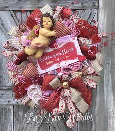 Valentine Wreath Valentine Decor Valentine Door Welcome My Funny Valentine, Valentine Day Love, Vintage Valentines, Valentine Day Wreaths, Valentines Day Decorations, Valentine Crafts, Christmas Wreaths, Spring Wreaths, Valentine Ideas