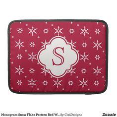 Monogram Snowflakes Pattern Red White Sleeves For MacBooks