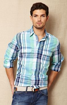 j navy large scale plaid button up