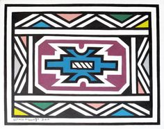 Esther Mahlangu - Ndebele and African prints Pattern Art, Abstract Pattern, Africa Symbol, African House, South African Art, Art Terms, Examples Of Art, African Mud Cloth, African Tribes