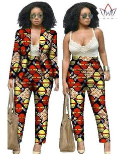 African Print Two Piece Set For Women Dashiki Pant and Crop Top