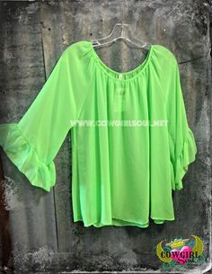 Sheer Ruffle Sleeve Top In Lime Green Small-Large  $26.00 http://www.cowgirlsoul.net/catalog.php?item=1559