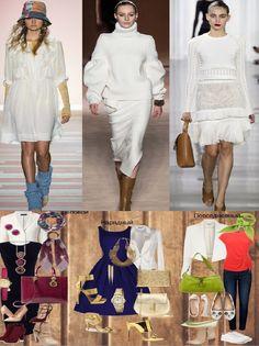 Белый цвет в трех сетах от ведущих модных дизайнеров и в трех комплектах одежды для работы, вечернего выхода и повседневный