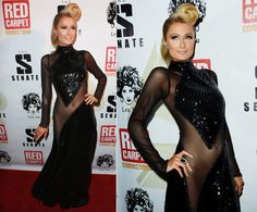 """One wrong move, and Paris Hilton is in for some major embarrassment. The socialite's insanely see-through dress certainly demanded attention, not to mention a yard or two of extra fabric. The blond heiress wore the bedazzled monstrosity to a pre-Grammy celebration hosted by Sean """"Diddy"""" Combs in Hollywood on Jan. 23, 2014, offering up an early preview of the outrageous looks sure to arrive on the red carpet at this year's awards show."""