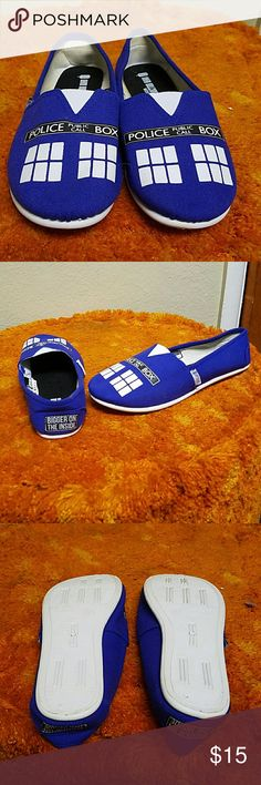 NWOT Tardis Slip ons Never worn. I bought them online and they ended up being too big. I usually wear an 8/8.5 and there is about 3/4 of an inch between my heel and the back of the shoe. Open to offers and feel free to ask questions! Hot Topic Shoes