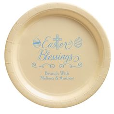 "Personalized paper plates elevate your party and a create unique style. Enjoy effortless entertaining and easy clean-up. Free online preview. Choice of 7"" and 10.25"" plate sizes, 14 plate colors, 25+ imprint colors, and typestyles. Medium-weight plates with white backs. Made and printed in the USA."