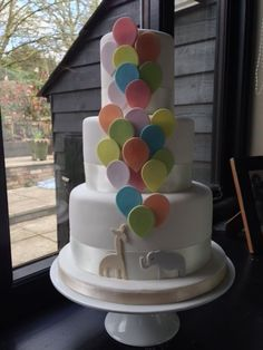 Balloons Christening Cake - For all your cake decorating supplies, please visit… Fancy Cakes, Cute Cakes, Christening Party, Christening Decorations, Balloon Cake, Gateaux Cake, Cake Decorating Supplies, First Birthday Cakes, Love Cake