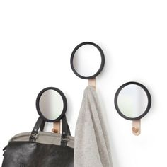 Umbra Beechwood and Black Rubber Wall Hook - Hub Mirror Hook