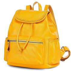 Three-dimensional Yellow Preppy Style Calfskin Travel Backpacks for Ladies(Free Shipping)