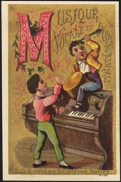 https://flic.kr/p/fUPNSJ | Musique vocale et instrumentale. S. D. Sollers & Co.'s fine shoes. [front] | <b>File name</b>: 10_03_003359a <b>Binder label</b>: Stock Cards <b>Title</b>: Musique vocale et instrumentale. S. D. Sollers & Co.'s fine shoes. [front] <b>Date issued</b>: 1870-1900 (approximate) <b>Physical description</b>: 1 print : chromolithograph ; 12 x 8 cm. <b>Genre</b>: Advertising cards <b>Subject</b>: Boys; Pianos; Drums (Musical instruments); Shoes <b>Notes</b>: Title from…